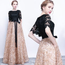 Wholesale Khaki Lace Long Sleeve Top - JaneVini Long Evening Dresses with Pockets Black and Khaki Girls Formal Prom Dress Lace Top African Evening Gowns Half Sleeves Sash 2018