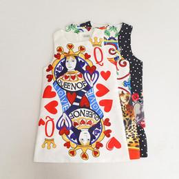 Wholesale Poker Styles - Everweekend Girls Vintage Poker Floral Love Print Princess Jacquard Dress Candy White Black Color Sweet Children Fashion Dress