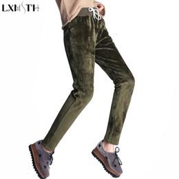 Wholesale Womens Warm Pants - LXMSTH Winter Warm Velvet Pants Women 2018 Drawstring Elastic Loose Trousers Plus SizeThick Womens Casual Harem Pants Waist 4XL