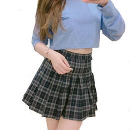 2019 segurança estudantil Hezhtmy 2018 saia primavera verão nova faculdade selvagem cintura alta xadrez saia plissada estudante saia mulheres mini com calças de segurança desconto segurança estudantil
