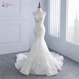 vestidos de novia de la sirena del amor de la impresión floral al por mayor los appliques únicos del bordado del cordón de los vestidos nupciales del hombro desde fabricantes