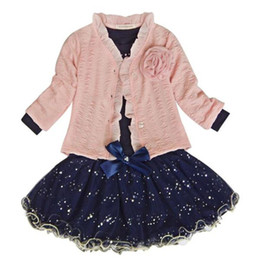 baby clothes set Promo Codes - Baby Girls Coat+T-shirt+Skirt Dress Tutu Party Set Suit Pink Clothes Fashion