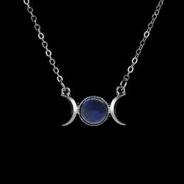 2019 collar de piedra natural luna Venta completa1 PC Mujer Crescent MoonSun Colgante Cadena de Color Plata Cristal Marinero Collar de Piedra Natural collar de piedra natural luna baratos