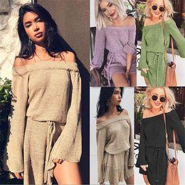 Wholesale Short Dress Long Sweater - 2018 New Autumn Fashion Women Clothing Casual Sexy Off Shoulder Long Sleeve Black Sweater Dresses Loose Plus Size Mini Dress