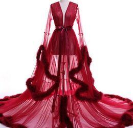 Wholesale Embroidered Strapless Dresses - Vestido de festa Evening Dress Robe De Soiree V Neck Feathers Long Tulle Party Evening Dresses 2017 Burgundy pink prom dresses