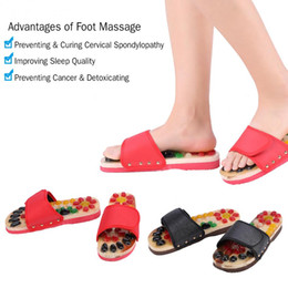 Wholesale stones for massage - Foot Massage Slippers With Pebble Stone Reflexology Health Care Blood Activating Acupuncture Shoes Massager Slippers for Couple