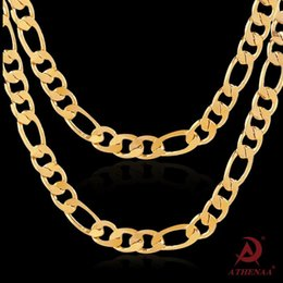 Wholesale Italy Gold Necklace - 18K gold-plated Men's Chain Necklace Italy Figaro Chunky Heavy Rock Hip Hop Chain Necklace 23.5 Inch Quality Warranty #HOP30