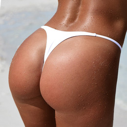 G string bikini mujeres traje de baño online-Cindysmile Sexy T Back Thong Brazilian Bikini Bottoms Mujer traje de baño G string Mujer Mayo Beach Wear Biquini Thong 2018