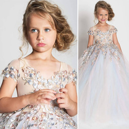 Wholesale Custom Measurements - 2018 ins Floral Flower Girl Dresses with Scoop Neck & Cap Sleeves Colorful Girls Formal Performance Dress with Train Custom Measurements