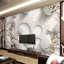 Wholesale Modern Magnolia - 3d wallpaper custom photo mural non-woven Magnolia maple leaf TV background wall painting living room wallpaper for walls 3d