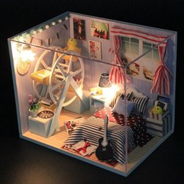 Wholesale Miniature Brand - Brand New Hoomeda DIY Cute Wood Dollhouse Miniature Toys With LED Furniture Cover Dollhouse Best Gifts Decor For Children