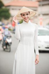 2019 vestiti etnici tradizionali bianco donna aodai Vietnam abbigliamento tradizionale Ao dai Vietnam abiti e pantaloni costumi Migliorato cheongsam stile etnico vestiti etnici tradizionali economici