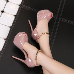 Wholesale Super High Platform Wedges - 2018 New super high and fish-mouth waterproof platform single shoes with the patent leather of 14cm sexy women's shoes.F22