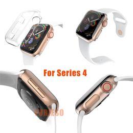 Relógio de plástico transparente on-line-Para a apple watch series 4 para 40mm / 44mm de cristal de luxo ultra fino pc plástico transparente transparente limpar case capa bumper