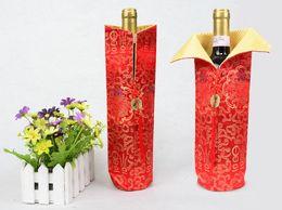housses de coffre vert Promotion 30cm cadeau sac bouteille de vin sac d'emballage sac de soie couleur mélangée motif mélangé chinois traditionnel cadeau livraison gratuite