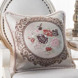 almohadas elegantes almohadas Rebajas Fundas de cojín decorativo floral jacquard cuadrado del coche para el sofá del coche Decoración del hogar Funda de almohada clásica cuadrada