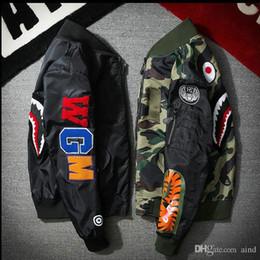 Hood homens s roupa on-line-Venda QUENTE Super MA1 Bombardeiro Camuflagem shark Jackets macacão hoodie roupas Capuz preto por homens de ar Outerwear parka Casacos de Roupas Masculinas