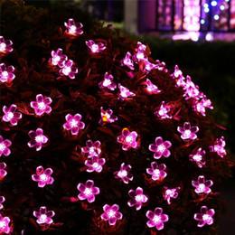 Солнечные цветы онлайн-Солнечные светодиодные фонари 21ft 50 светодиодов Fairy Flower Blossom Christmas Party Lights Садовая лампа Водонепроницаемый Открытый ночные огни