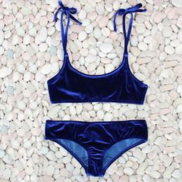 Wholesale European Style Women Suit - European And American Style Women Pure Color Velvet Bikinis Sets Swimwear Lady Sexy Swimsuit Beach Wear Two Piece Suits 22bs W