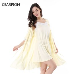 Wholesale Women Cotton Nightdress - CEARPION Female Cotton Robe Set Bathrobe Short Kimono Spa Dress Gown Lace Nightwear Women Strap Nightdress Sleepwear Pajamas
