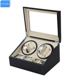 Wholesale Dress Displays - Wholesale-DHL send 4+6 Automatic watch winder 4 box slient motor box for watches mechanism cases with drawer storage display watches
