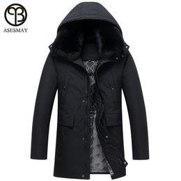 20055de1b55a Asesmay men down jacket goose feather coats fox fur hoodies thick warm  smart casual long wellensteyn jackets parkas men AMY1818