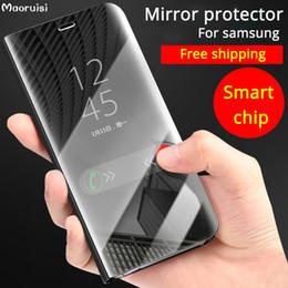 stelle flip cover Sconti Per Samsung Galaxy S9 S8 Plus S6 Bordo S7 Nota 8 Smart Clear Mirror Case per Samsung Note 9 J4 J6 J7 J8 2018, A8 / A9 Star Flip Stand Cover
