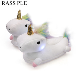 Wholesale fluffy animal slippers - RASS PLE Women's Plush Unicorn Light Slippers 2017 Fluffy Floor Adult Slippers For House Bedroom Footwarmer
