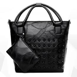 48a1bcd61fee Women Bags Fashion Casual Sheepskin Two-piece Shoulder Bag Rivet Stitching  Hot Ladies Handbag