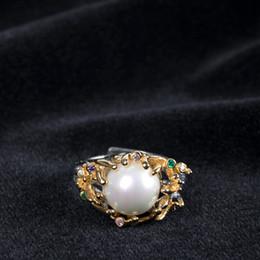 großer silberner blumenring Rabatt Reine 925 Sterling Silber Blumen Perle Zirkon Ringe Original Design 12mm große Perle Gold Farbe Ringe für Frauen edlen Schmuck Geschenk