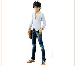 Uma peça miúdo luffy figura on-line-20cm ONE PIECE ONEPIECE Monkey D Luffy White jeans action figure Builders Toy Collection Movie Anime Portrait kid electronic pet