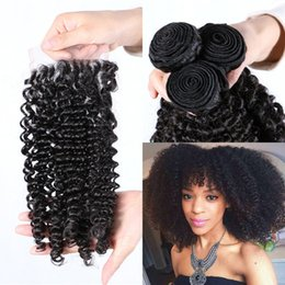 Wholesale 4x4 swiss lace closure - Kinky Curly Peruvian Virgin Human Hair 4x4 Swiss Lace Closure with 3 Bundles Unprocessed Natural Hair FDSHINE