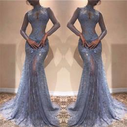 Zuhair alto cuello vestidos online-Gorgeous Zuhair Murad Full Lace Vestidos de baile 2018 Cuello alto Sirena Ilusión Mangas largas Ver a través de vestidos de noche Lavanda Vestido de fiesta