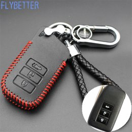 Wholesale Lexus Leather Key - FLYBETTER Genuine Leather Remote Control Car Keychain Key Cover Case For Lexus RX270 IS250 RX200 CT200H 3Buttons Smart Key L2045