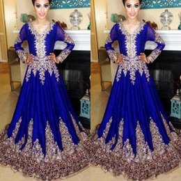 Wholesale Moroccan Gold - 2018 Elegant V-Neck A-Line Prom Dresses Lace Embroidery Evening Gowns Illusion Long Sleeves Arabic Muslim Plus Size Moroccan Kaftan Vestidos