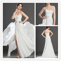 Vestido de fenda de contas brancas on-line-All White Prom Vestido de Costas de Um Ombro Coxa Alta Fenda Vestido de Noite Vestidos de Festa de Cristal Frisado Backless Doce Meninas Júnior