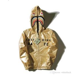 Wholesale Mens Summer Hoodie - Mens women Love Sportwear Coat Tracksuit Zipper Summer Sweatshirt WGM Embroidery Shark Black Hip Hop Hoodie Men Shark mouth Gold Silver coat