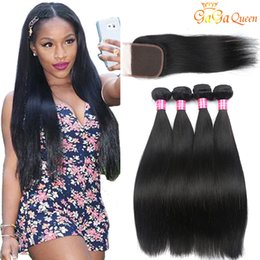 Wholesale virgin malaysian straight hair - Brazilian Straight Hair Bundles With 4x4 Closure Unprocessed Brazilian Virgin Hair Straight With Lace Closure Cheap Human Hair Extensions