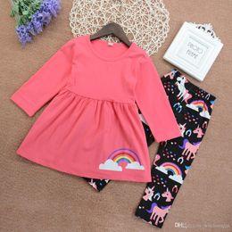 2019 vestito dentellare dalla neonata all'ingrosso Neonata vestiti vestito unicorno arcobaleno rosa T-shirt top + pant 2 pezzi belle ragazze bambini abbigliamento preppy vestito all'ingrosso abiti BY0303 sconti vestito dentellare dalla neonata all'ingrosso