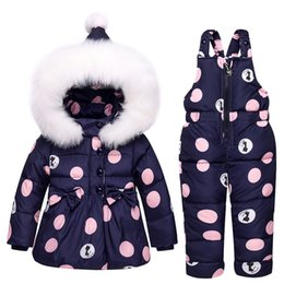polka dot jumpsuit toddlers Promo Codes - 2018 New Infant Baby Winter Coat Snowsuit Bowknot Polka Dot Duck Down Toddler Girls Outfits Snow Wear Jumpsuit Hoodies Jacket