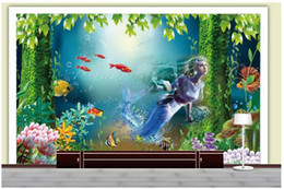 wall stickers mermaids Promo Codes - 3D wallpaper custom photo Silk mural wallpaper sticker Underwater World Mermaid 3D TV Sofa Background Wallpaper for walls 3d home decor