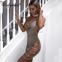 Wholesale Sexy Club Dresses Metallic - Wholesale-Colysmo Women Sexy Halter Crystal Sequin Dress Backless Metallic Damond Bandage Club Bodycon Dress Party Christmas Dresses Red