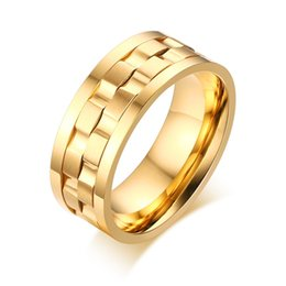 Wholesale High Fashion Accessories - 18K Gold Plated Stainless Steel Rings Jewelry For Men Fashion Accessories High Quality Friendship Party Gift R-183