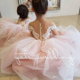 hand embroidered girls dress UK - Long Sleeves Ball Gown Flower Girls Dresses For Weddings Embroidered Tulle Pink Ivory Blush Children Party Dresses Girls Pageant Dresses