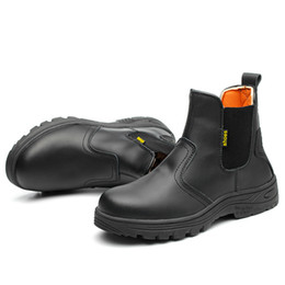 46 cap Promo Codes - large size 45 46 men fashion black steel toe cap work safety shoes genuine leather security ankle boots building site worker