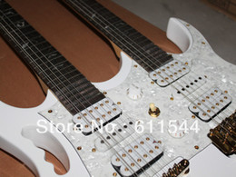 Wholesale 12 String Electric Guitar Necks - White 7V Double Neck 6 12 strings Electric Guitar High Quality New Arrival Free Shipping2018