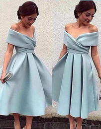Wholesale Cheap Mini Summer Dresses - Cheap Sexy V Neck Short Homecoming Dresses Sky Blue Ruched Stain Mini Sweet 16 Young Lady Gown Cocktail Dresses Prom Formal Party Ball Gowns
