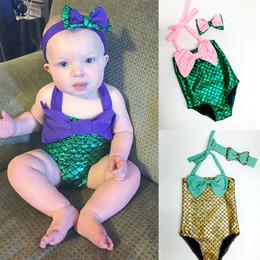 Wholesale Girl Swimsuits - Children Mermaid Swimwear Bow headband+bow swimwear 2pcs set cartoon 2018 summer Mermaid Bikini Kids One-piece Swimsuit C3865