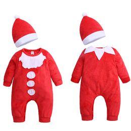 64a5de119ea1d Christmas Baby girls boys romper cartoon Long sleeve infant Santa Claus  Jumpsuits with hat Xmas Autumn kids Climbing clothes C5321