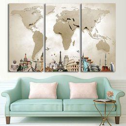Wholesale Hd Arts - Canvas Painting Wall Art HD Printed Pictures For Living Room 3 Piece Frame Vintage World Map Landscape Modular Poster Home Decor